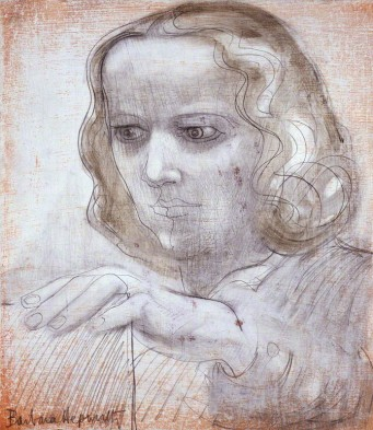 by Dame Barbara Hepworth, oil and pencil on board, 1950