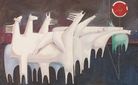 Kadhim-Hayder-Fatigued-Ten-Horses-Converse-with-Nothing-1965-Oil-on-canvas-e1443794428996